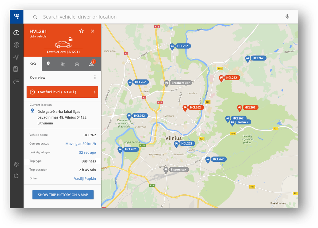 Intuitive interface and give you the live event of every vehicle